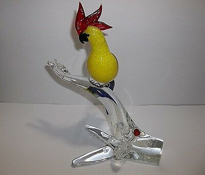 Vintage Italia Collection MURANO Art Glass COCKATIEL Exotic Birds Of The World