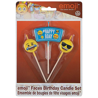 3 Official Emoji Smiley Face Birthday Party Cake Decoration Snack Pick Candles