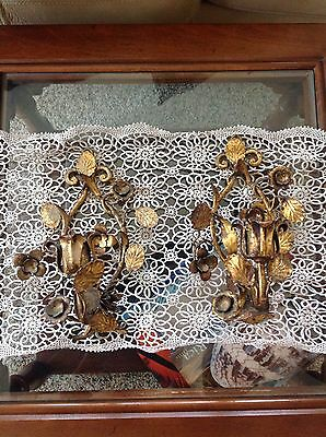 Pair of Beautiful Gold Gilt Metal Wall Sconces