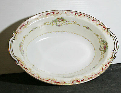 Vintage Noritake Fine Bone China Oval Vegetable Bowl – Red & Gold Floral