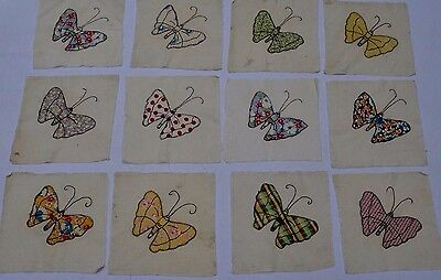 Antique Vintage  Applique Hand Made Quilt Squares Butterfly Feed sack Lot 12
