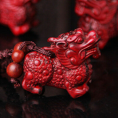Precious Red Sandalwood Wood Hand Carving Chinese Pi Xiu Yao Statue Key Chain