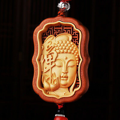 Hollow Out inlay Wood Carving Chinese Buddha Shakyamuni Sculpture Car Pendant