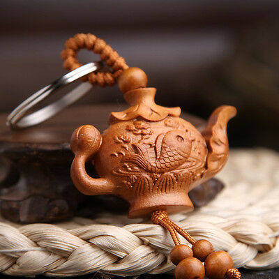 Tea Pot Carp Wood 3D Carving Chinese Fengshui Pendant Key Chain Keyring Craft