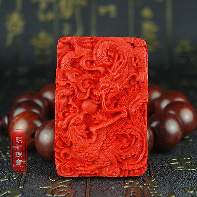 Natural Red Cinnabar Carving Lacquer Chinese Dragon Phonenix Pendant Necklace