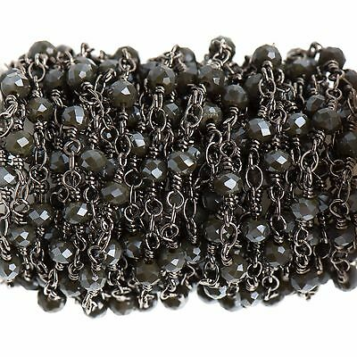 3ft CHARCOAL GREY Crystal Rosary Bead Chain, gunmetal, rondelle, fch0690a