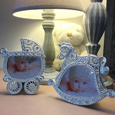 Silver Plated Lace Effect New Baby Photo Frame Pram Rocking Horse Christening