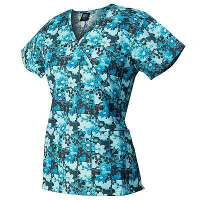 Medgear Womens Fashion Scrubs Top, Mock-Wrap with Back Ties, 2 Pockets 109P-FPDT