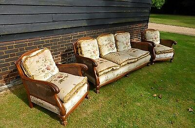 BERGERE quality 3 piece suite, 1920's, double canework, walnut, ivory floral