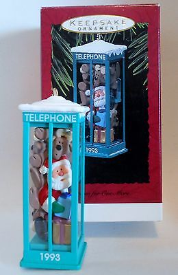 "1993 Hallmark Keepsake Ornament ""Room for One More"" Santa in Telephone Booth"