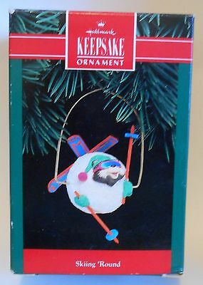 "1992 Hallmark Keepsake Ornament ""Skiing 'Round"" Tangled Up in a Snowball MIB"