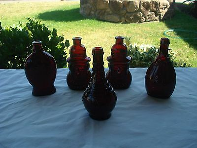 Vintage Wheaton Ruby Red Bottles(5)