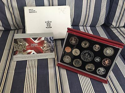 Rare 2006 Royal Mint United Kingdom  Proof Set With Leather Case 13 Coins