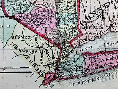 New York State scarce 1873 Beers fine large antique hand color lithograph map