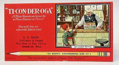 DIXON TICONDEROGA Norman Rockwell advertising ink blotter SNOHOMISH WA unused *