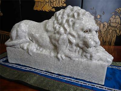 Vintage Chinese Crackled Porcelain Lion Figurine Large Statue Deco