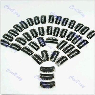 40 PCS  Black U Shape Snap Metal Clips for Hair Extensions Weft Clip-on Wig New