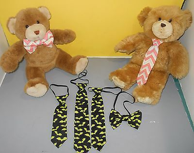 Teddy Bear Clothing Accessory Handmade Bow Tie Bowtie Neck Tie Set Green Bats
