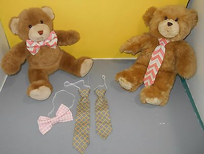 Teddy Bear Clothing Accessory Handmade Bow Tie Bowtie - Neck Tie Set Pink Chec