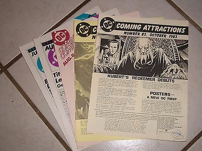 Lot of 5 1983 DC COMICS COMING ATTRACTIONS Flyers