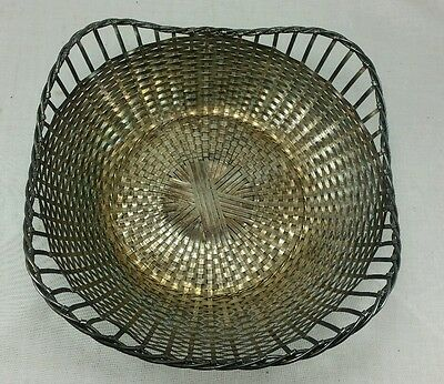 "VINTAGE Antique SILVERPLATE BASKET WEAVE WOVEN METAL 9.25"" x 9.25"" FRANCE BOWL"
