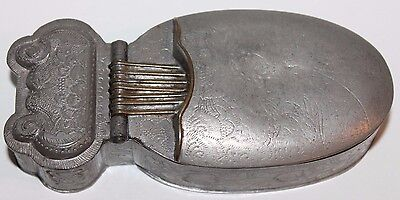 Old Antique Chinese Pewter Mirror Box Marked on Bottom