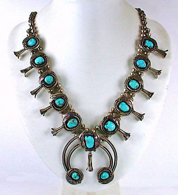 VINTAGE Navajo Silver Sleeping Beauty Turquoise Squash Blossom Necklace 1940's