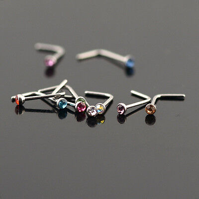 Surgical Steel Nose Ring L Shaped Stud with 2mm Rhinestone- USA Seller