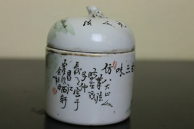 Antique Chinese Porcelain Lidded Jar or Tea Caddy Calligraphy Painting Late Qing