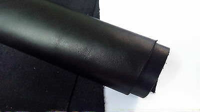 Pieces /  Offcuts of Black Italian Cowhide Genuine Leather thick 1,2 mm.