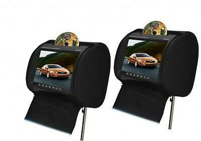 "DVS 9"" Headrest monitors with DVD/USB and cordless headphones"