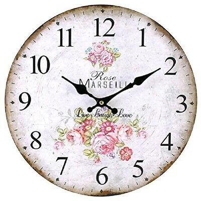 34cm Wall Clock Rustic French Rose Design Round Wood Vintage Home Office Shabby