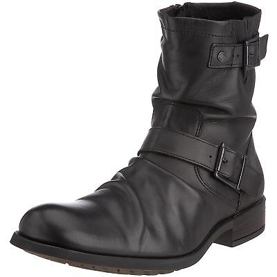 Base London Metal Black Mens Leather Zipper Buckle Creased Biker Ankle Boots
