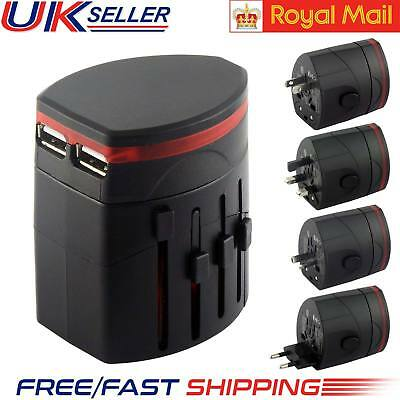 New World Wide Universal Multi Plug Adapter Travel Charger with Dual USB PORT UK