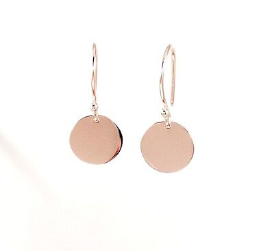 Solid 9ct Rose / Pink Gold  9.5mm Drop Disc Earrings Polished Finish