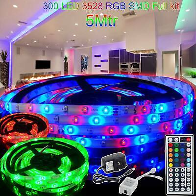 New 300 LED 3528 RGB SMD Strip Light with 12V Adapter Remote Control Waterproof