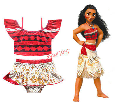 Cute Girls Toddlers Moana Swimsuit Swimwear 2pcs Set Bathing suit Bikini Cosplay