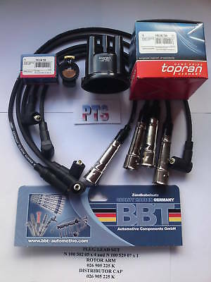 Distributor Cap/rotor Arm & Plug Leads Audi Seat Vw Topran 100244 026905207A New