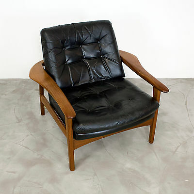 Exceptional Danish Modern Teak & Leather Lounge Chair Denmark 60s    Sessel no2