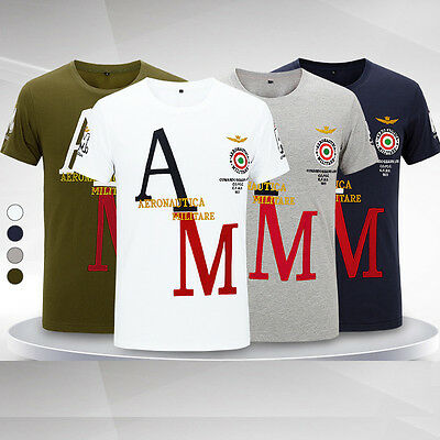 Mens 100% Cotton MA1 Short Sleeve Sport Shirts Top Tee T-shirts Embroidery L-4XL