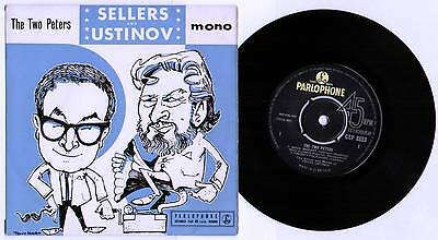 """Peter Sellers / Peter Ustinov ~ Two Peters ~ 1962 Uk 3-Track Mono 7"""" Ep + P/s"""