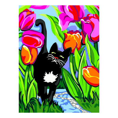 COLLECTION D'ART | Printed Canvas: Cat With Tulips |CD10490