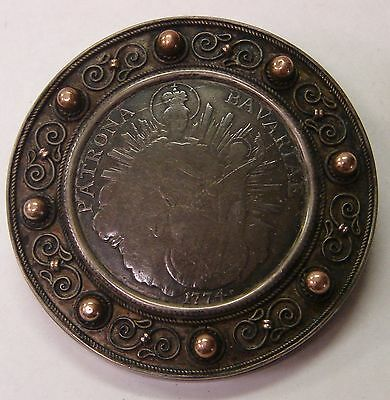 Germany-Bavaria 1774-A Thaler In Large Silver Brooch -Gift to Mother on Birthday
