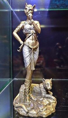 Bastet & Cat The Ancient Egypt Goddess of joy, pleasure & protector Bronze Doll.