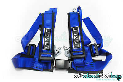 1 x BLUE LUKE GHR4 - Road Legal / Track Day Safety Harness - 4 Point Harness