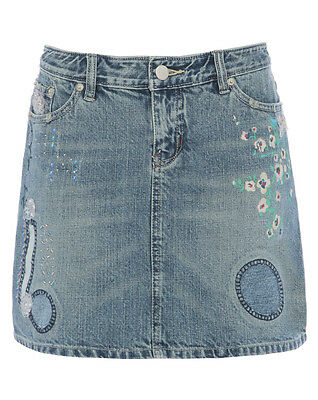 NEW Girls Denim Skirt Ages 8 to 14 Years Jean Skirts Floral Detail Denim Blue