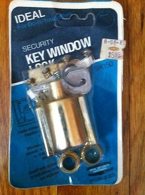 Vintage IDEAL Security Key Window Lock Brass Finish