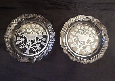 """VTG Pair Clear FROSTED ETCHED GLASS BIRDS Trinket Dishes / Ashtrays–4 5/8""""–MINT!"""