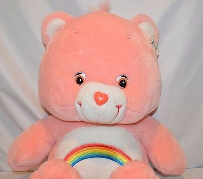 "Care Bears Cheer Bear Pink Plush Stuffed Animal 2002 Play Along Toy 26"" Large"