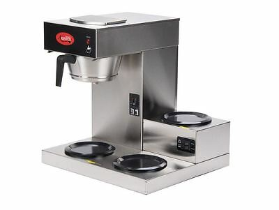 Commercial Stainless Restaurant Pourover Coffee Maker Brewer, 3 Warmers, 120V